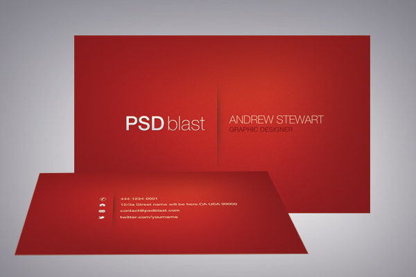 Card template design psdblast for Red business card template