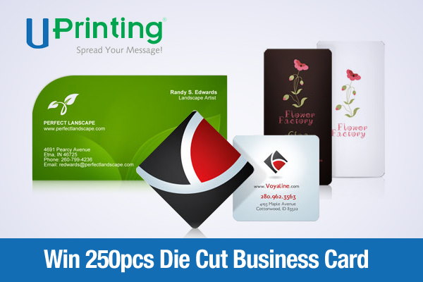 Win 250pcs die cut business card printing from uprinting for Uprinting business cards